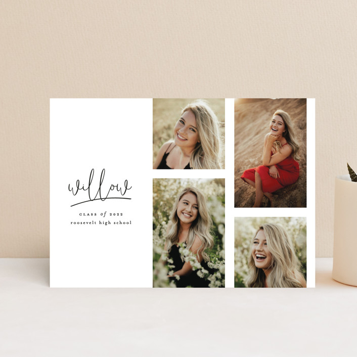 """""""FOUR"""" - Graduation Announcement Postcards in Cotton by Ashlee Townsend."""