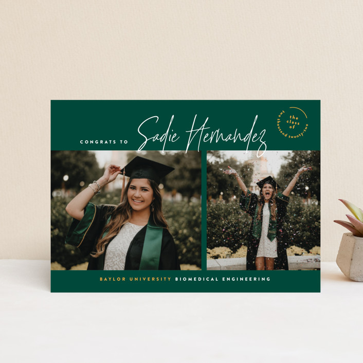 """""""The School Colors"""" - Graduation Announcement Postcards in Emerald by Owl and Toad."""