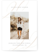This is a white graduation announcement postcard by Lauren Chism called Softest with standard printing on signature in postcard.