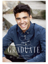 This is a white graduation announcement postcard by Sara Hicks Malone called supreme with standard printing on signature in postcard.