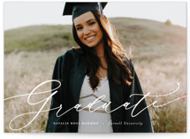 This is a white graduation announcement postcard by Ashley Rosenbaum called Classic & Bold with standard printing on signature in postcard.