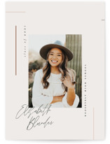 This is a beige graduation announcement postcard by Carolyn Nicks called Aligned with standard printing on signature in postcard.