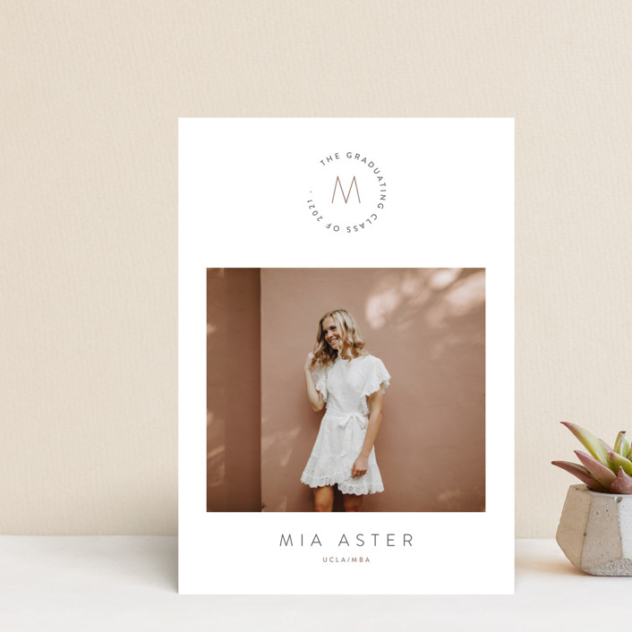"""""""Monogram"""" - Graduation Announcement Postcards in Valley by Owl and Toad."""