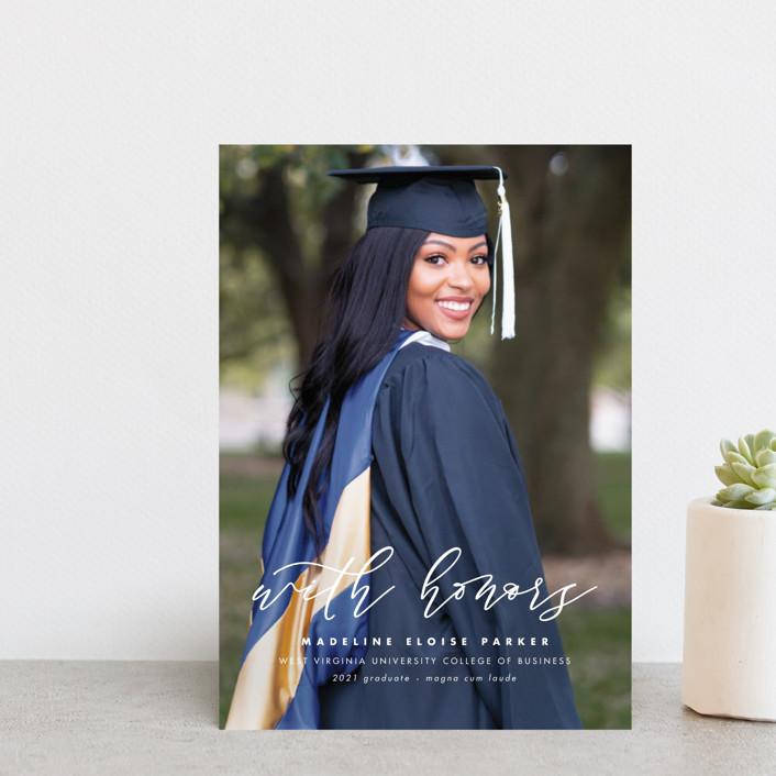 """Honored"" - Graduation Announcement Postcards in Paper by Lea Delaveris."