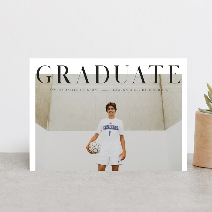 """Bold headline"" - Graduation Announcement Postcards in Cloud by Kann Orasie."