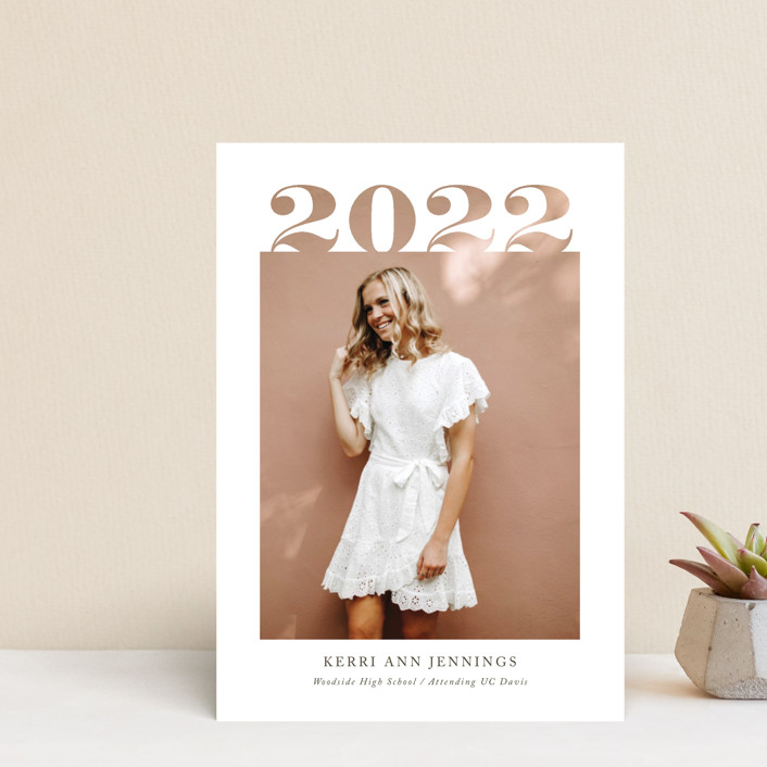 """""""2020 Cutout"""" - Graduation Announcement Postcards in Ivory by Yaling Hou Suzuki."""