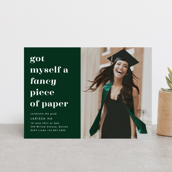 """""""Fancy"""" - Graduation Announcement Postcards in Fir by Catherine Culvenor."""