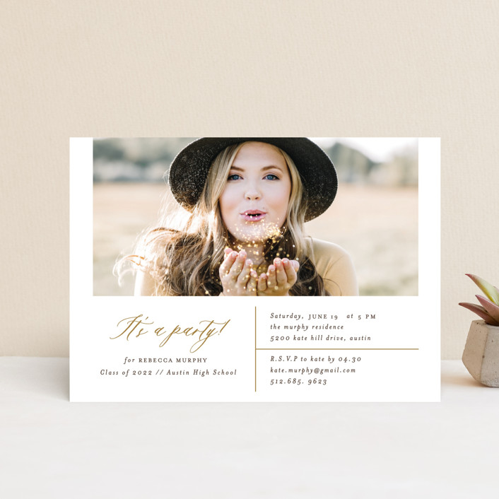 """""""It's A Party!"""" - Graduation Announcement Postcards in Champagne by Mansi Verma."""