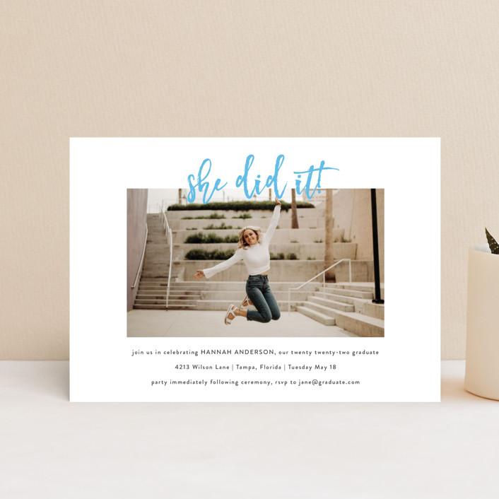 """Let's Celebrate!"" - Graduation Announcement Postcards in Slate by Kasia Labocki."
