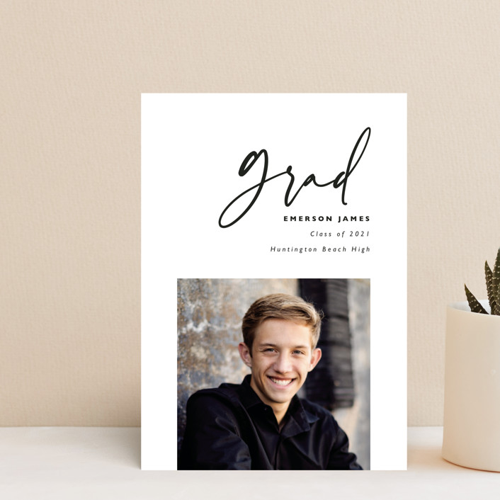 """""""Brushed"""" - Graduation Announcement Postcards in Chalk by Hudson Meet Rose."""