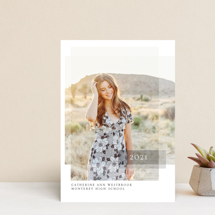 """""""Layered"""" - Graduation Announcement Postcards in Pebble by Erin Deegan."""