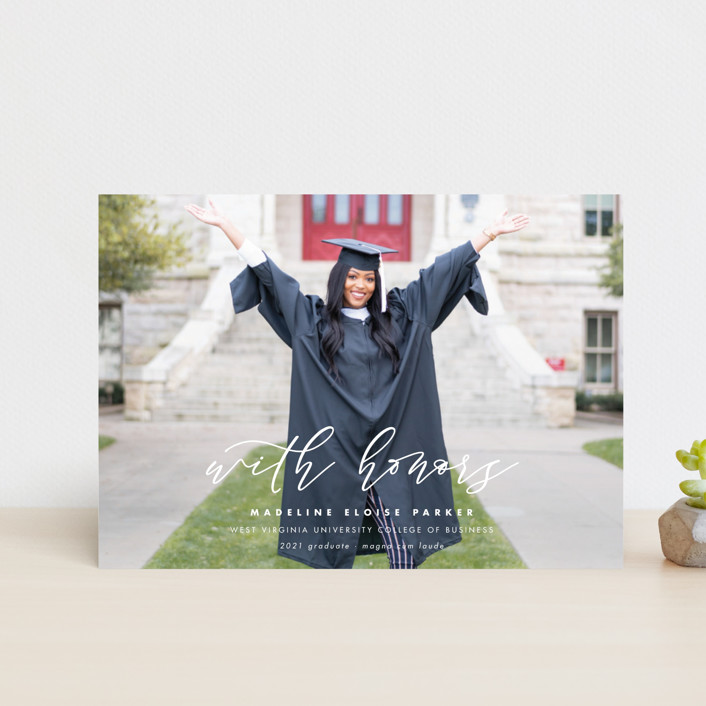 """Honored"" - Graduation Announcement Postcards in Paper by Lea Delaveris."