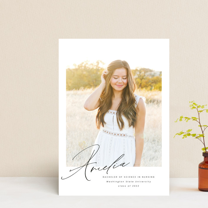 """""""Signed"""" - Graduation Announcement Postcards in Crystal by Ink and Letter."""