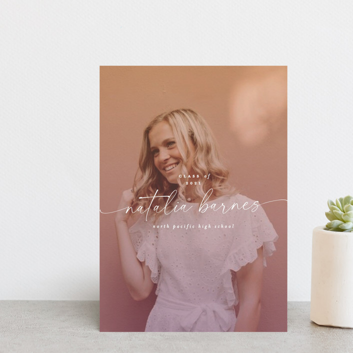 """Poetic"" - Graduation Announcement Postcards in Sunset by Everett Paper Goods."