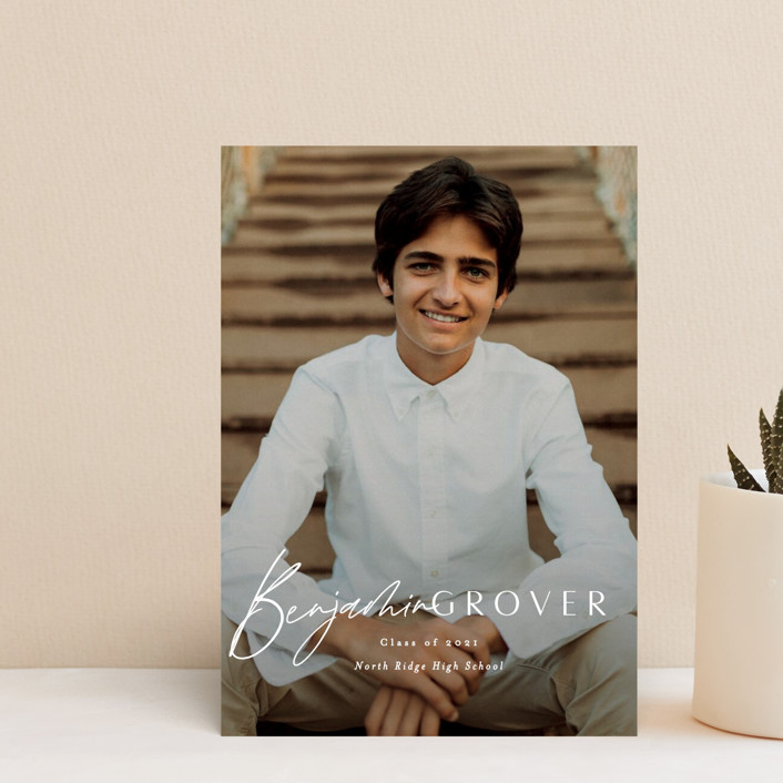 """Intrepid"" - Graduation Announcement Postcards in Powder by Everett Paper Goods."