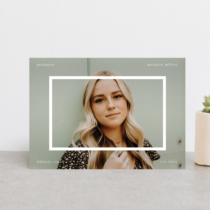 """""""Framed overlay"""" - Graduation Announcement Postcards in Snow by Baumbirdy."""