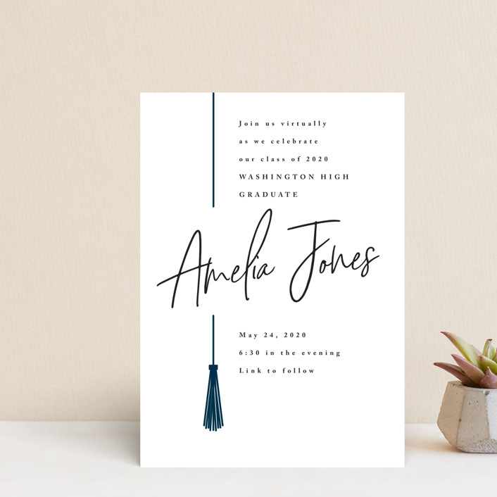 """""""Written Out Virtually"""" - Graduation Announcement Postcards in Navy by Owl and Toad."""