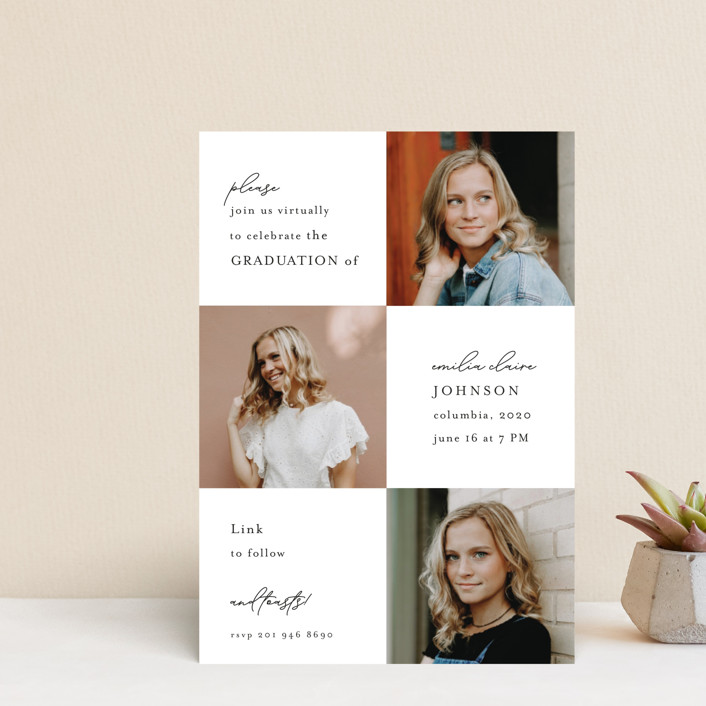 """""""Virtual Grad Night"""" - Graduation Announcement Postcards in Pearl by Chris Griffith."""