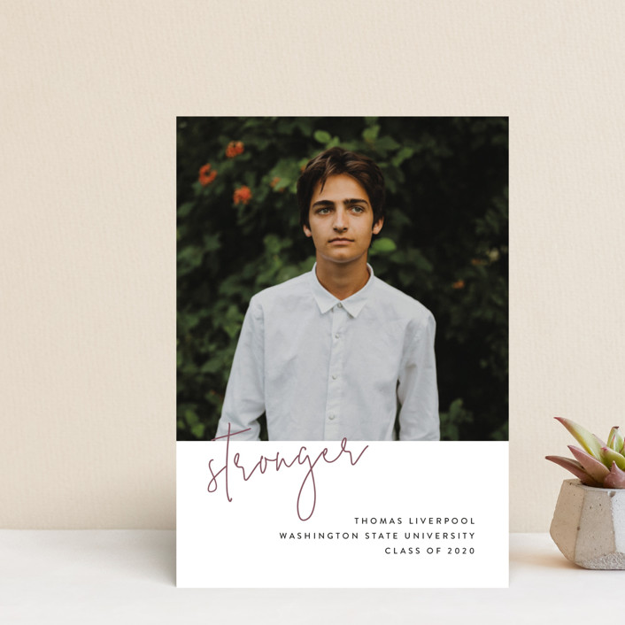 """""""Stronger"""" - Graduation Announcement Postcards in Rosewood by Chryssi Tsoupanarias."""