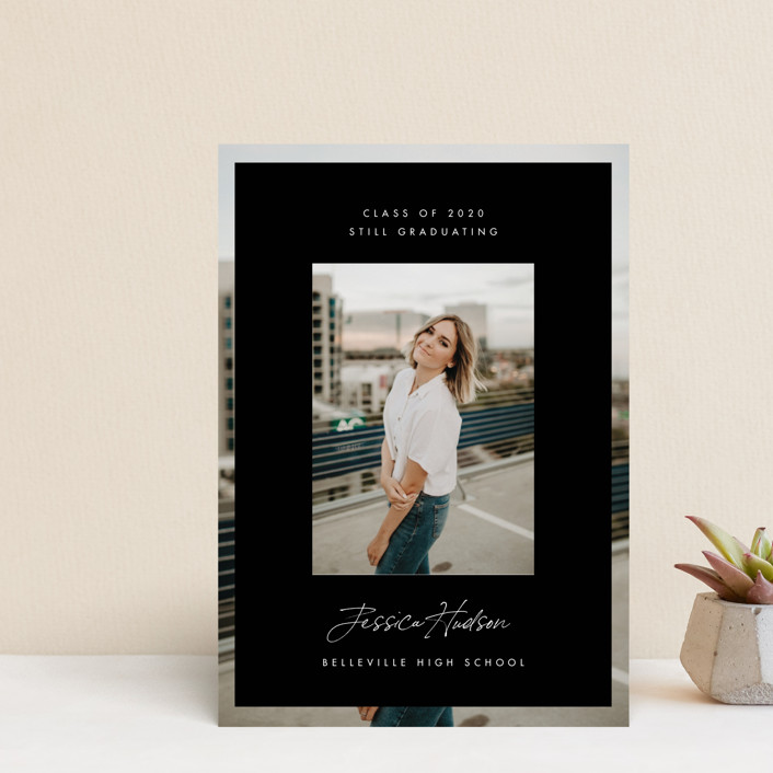 """Double Photo"" - Modern Graduation Announcement Postcards in Salt by Monika Drachal."
