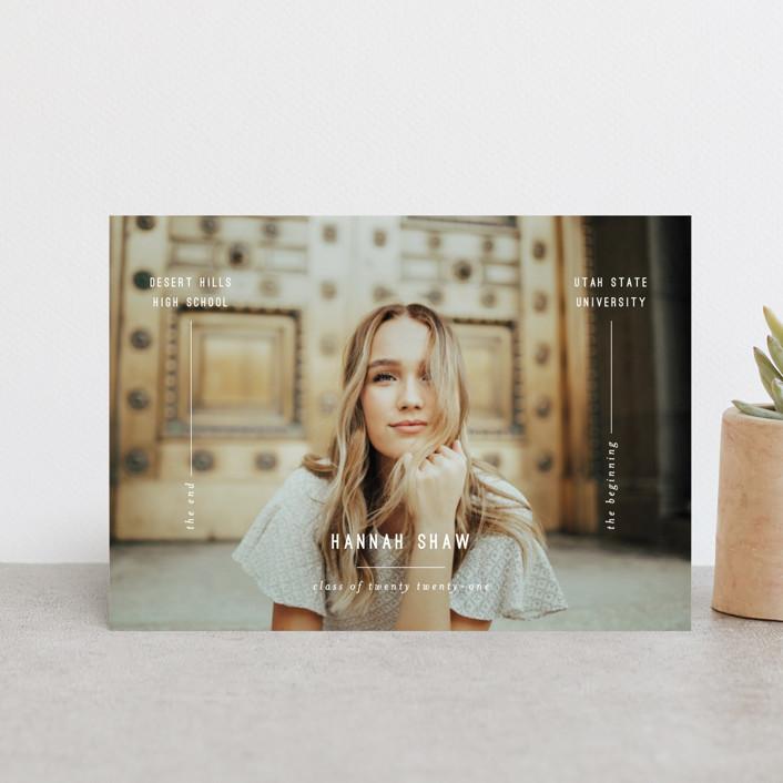 """End + Beginning"" - Graduation Announcement Postcards in Cloud by Brittany Braithwaite."