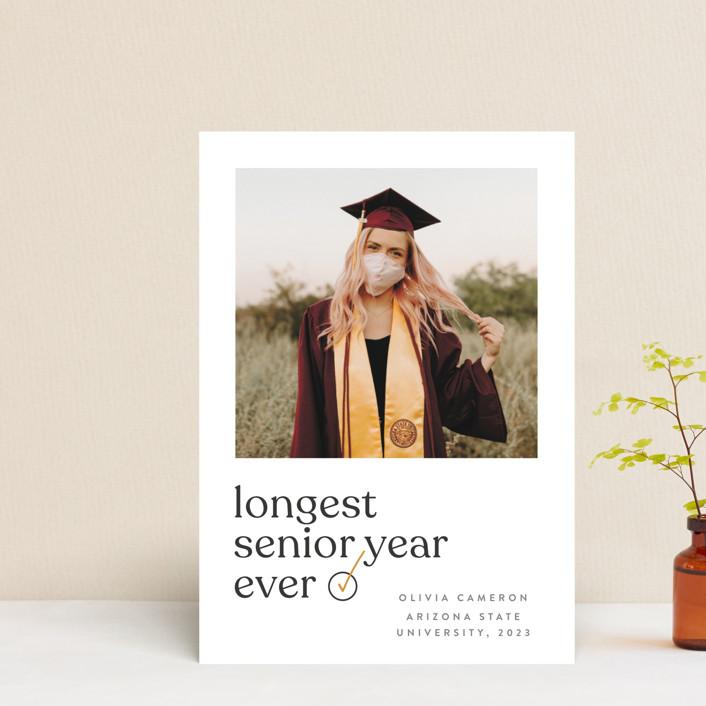 """longest ever"" - Funny, Modern Graduation Announcement Postcards in Mustard by JoAnn Jinks."