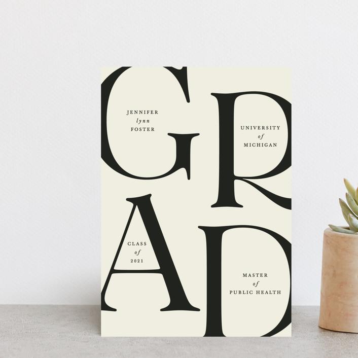 """Sophisticated"" - Graduation Announcement Postcards in Charcoal by Ellen Schlegelmilch."