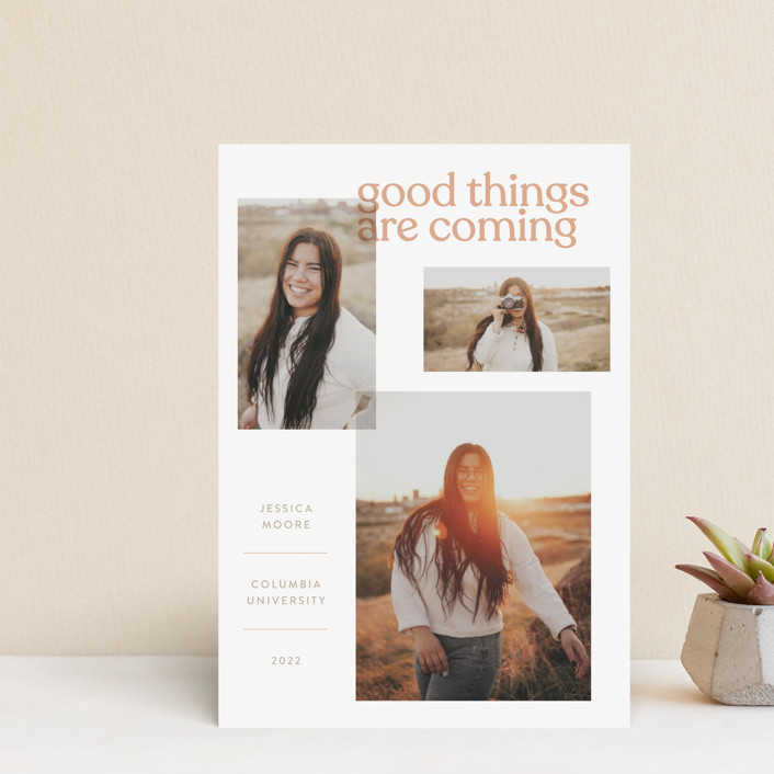"""""""Layered"""" - Funny, Modern Graduation Announcement Postcards in Peach by JoAnn Jinks."""
