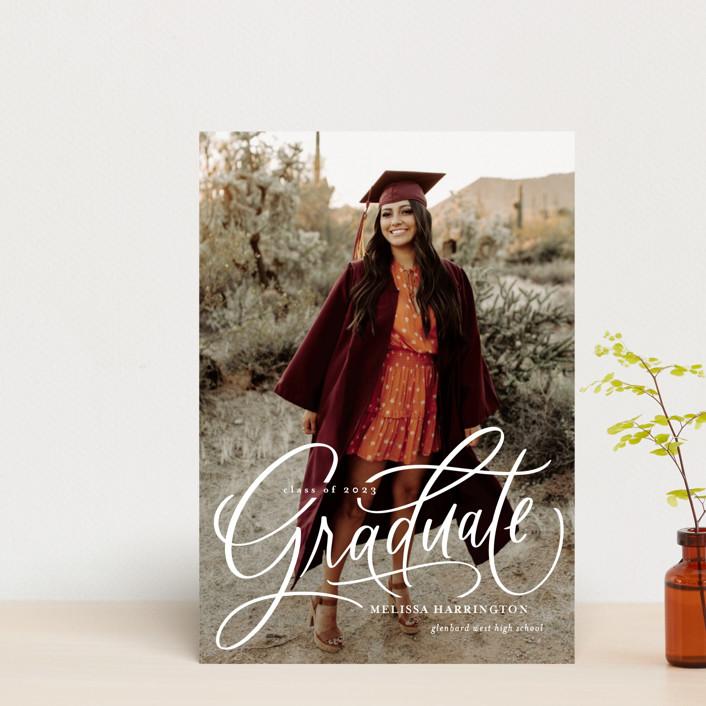 """Script Grad"" - Graduation Announcement Postcards in Cloud by Erin German."