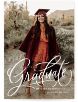 This is a white graduation announcement invitation by Erin German called Script Grad with standard printing on signature in postcard.