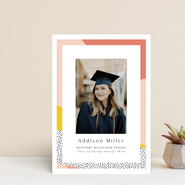 """Bold Border"" - Modern, Preppy Graduation Announcement Postcards in Pink Lemonade by Nicole Walsh."