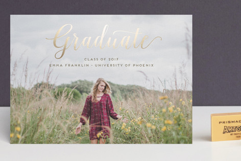 Stylish and Elegant Foil-Pressed Graduation Postcards