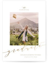 This is a brown graduation announcement postcard by Jennifer Postorino called Scripted with foil-pressed printing on signature in postcard.