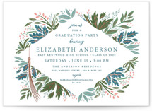 This is a blue graduation announcement postcard by Paper Sun Studio called Flourish with foil-pressed printing on signature in postcard.