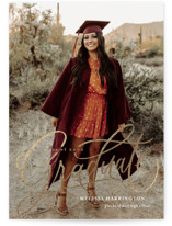 This is a white foil pressed graduation card by Erin German called Script Grad with foil-pressed printing on signature in postcard.