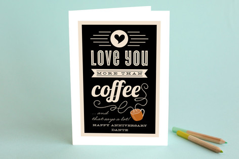 more than coffee anniversary greeting cards by leh  minted, Birthday card