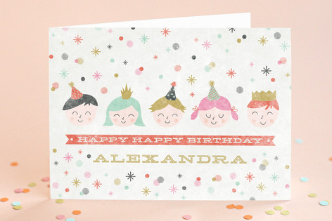 Happy Little Faces Kid's Birthday Greeting Cards