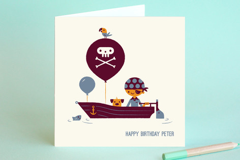 Pirate Captain Kids Birthday Greeting Cards By Bo Minted