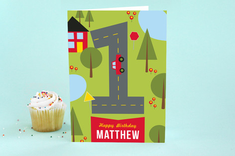 On the Road Kid's Birthday Greeting Cards