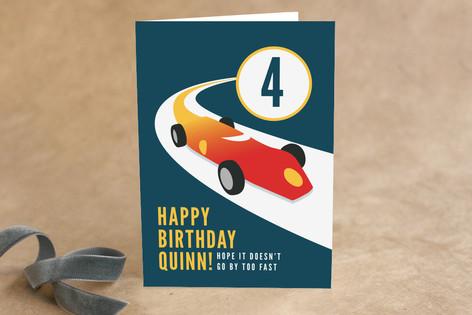 Vintage Race Car Kid's Birthday Greeting Cards