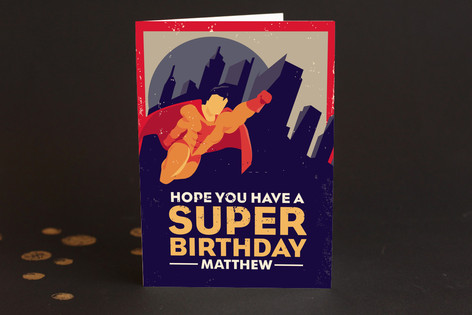Super Heroes Kid's Birthday Greeting Cards