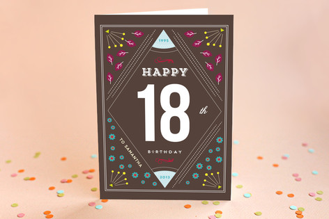 Geometric Floral Kid's Birthday Greeting Cards