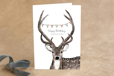 Deer Greeting Kid's Birthday Greeting Cards
