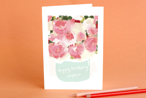 Peonies in Vase Birthday Greeting Cards