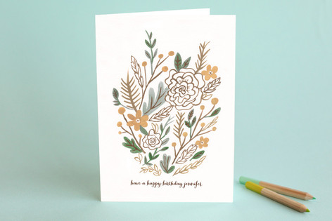 Muted Bouquet Birthday Greeting Cards