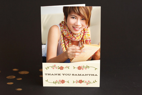 Floral Frame Adult Thank You Greeting Cards