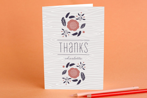 Faux Bois Florals Adult Thank You Greeting Cards