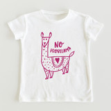 This is a white girls t shirt by Erika Firm called No Probllama.