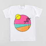 This is a white girls t shirt by Jessica Louie called beach vibes.