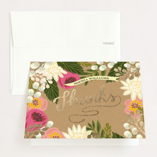 Floral Canopy Foil-Pressed Graduation Announcement Thank You Cards